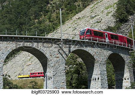 Stock Photo of Circular viaduct of Brusio, Rhaetian Railway.