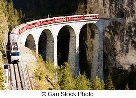 Stock Photo of train on Rhaetian Railway, Landwasserviadukt.