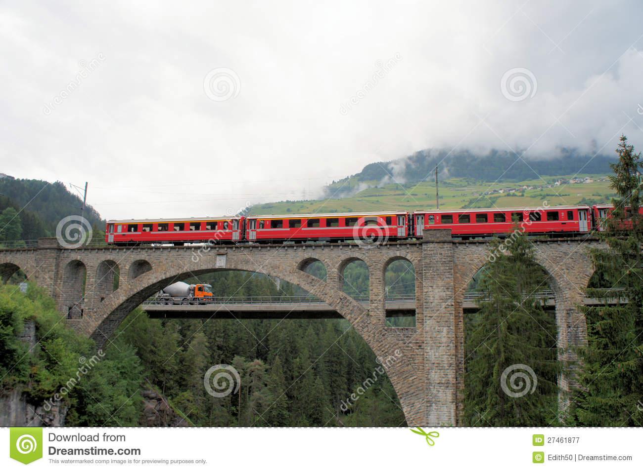 Swiss Bridge And The Rhaetian Railway Royalty Free Stock.