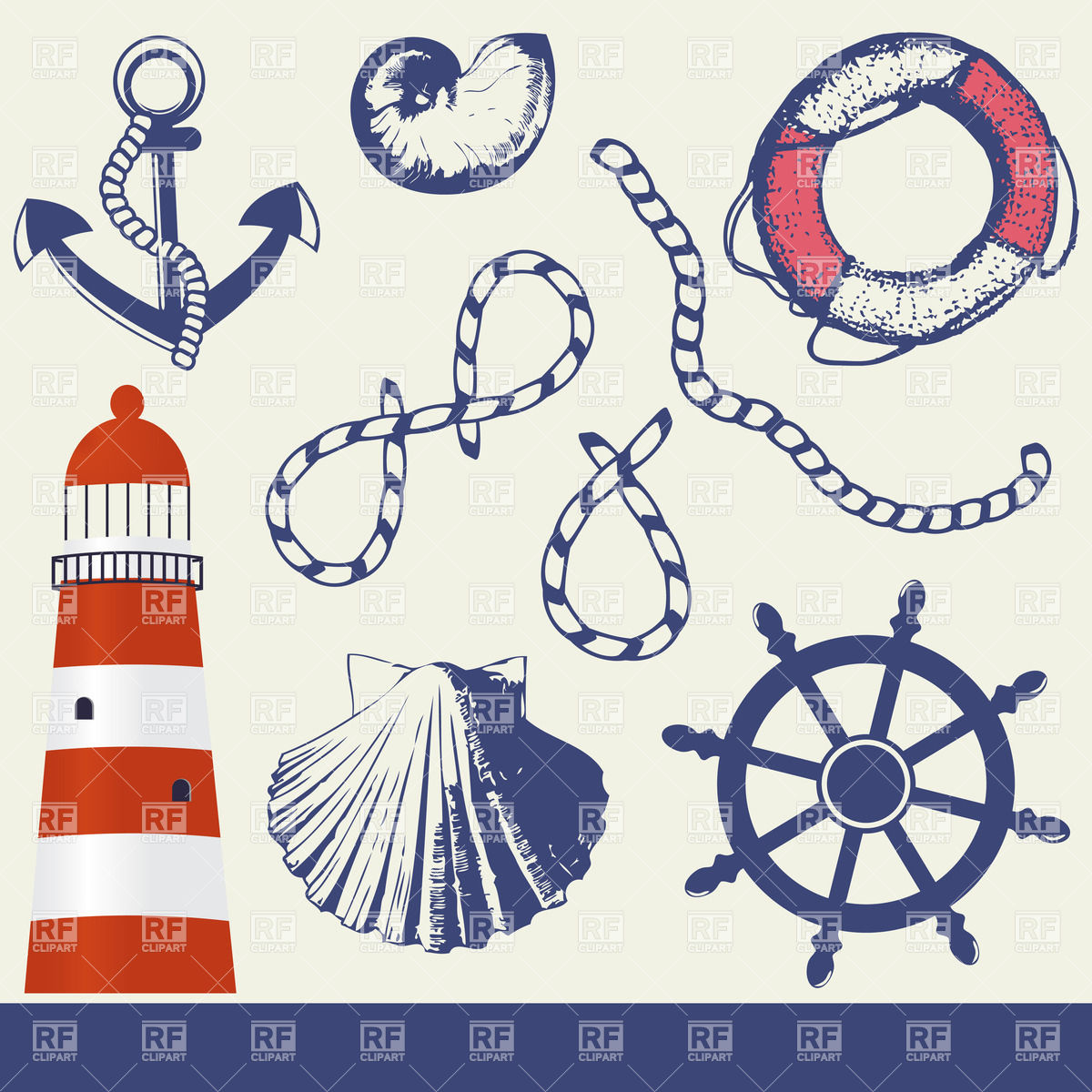 Nautical Symbols Clipart.