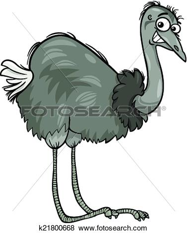 Clip Art of nandu ostrich bird cartoon illustration k21800668.