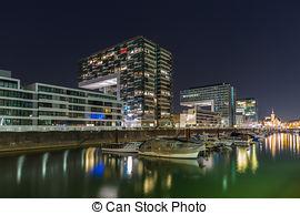 Bilder von Köln, rheinauhafen, Nacht.