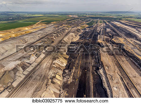 "Stock Image of ""Aerial view, diggers in the Garzweiler surface."