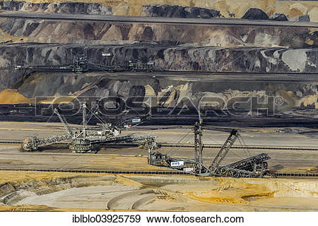 "Stock Photograph of ""Aerial view, diggers in the Garzweiler."