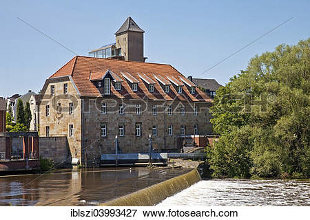 "Picture of ""Emswehr weir with the baroque mill, Rheine."