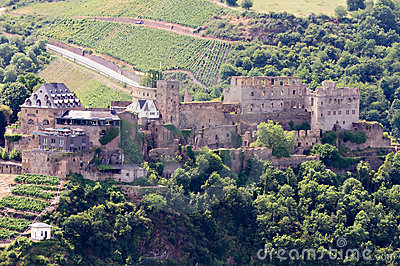 Castle Rheinfels Near St. Goar Stock Photo.