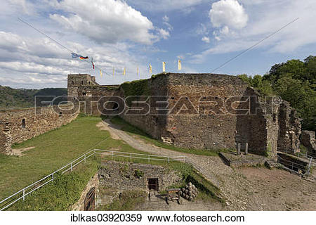 "Stock Photograph of ""Inner bailey with clock tower, Burg Rheinfels."