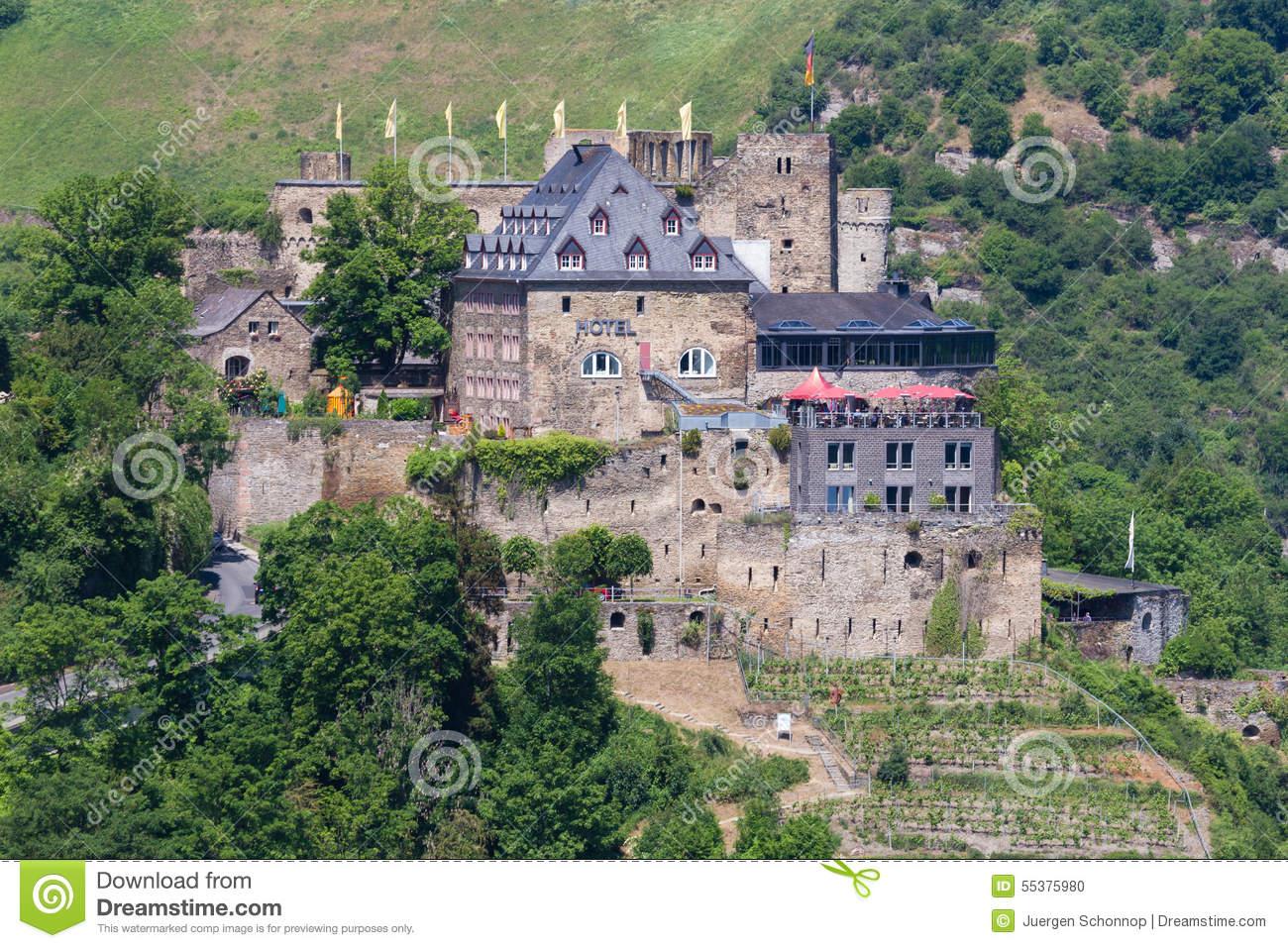 Castle Rheinfels Near St. Goar Stock Photo.