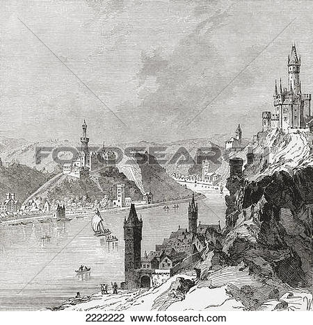 Stock Photo of Sankt Goar And The Burg Rheinfels, Rhineland.