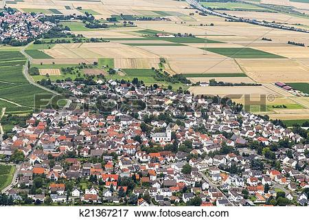 Picture of aerial of Wicker, an old wine town in the Rheingau.