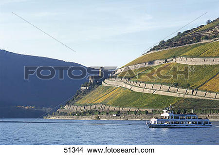 Stock Photo of Excursion boat in river, Rhine River, Ehrenfels.