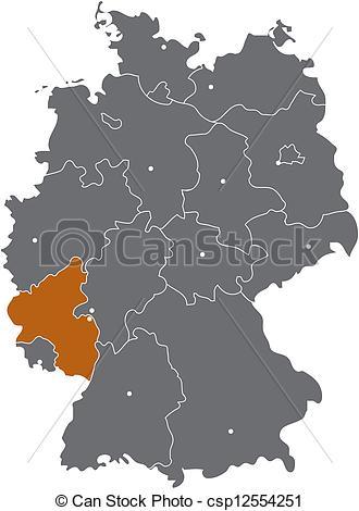 Clipart Vector of Rheinland Pfalz in der Deutschlandkarte.