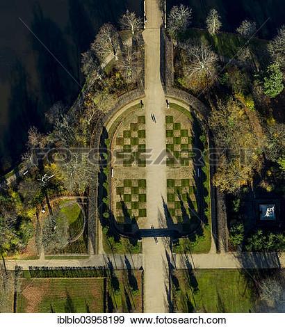 """Stock Photograph of """"Aerial view, grounds of Schloss Rheinsberg."""