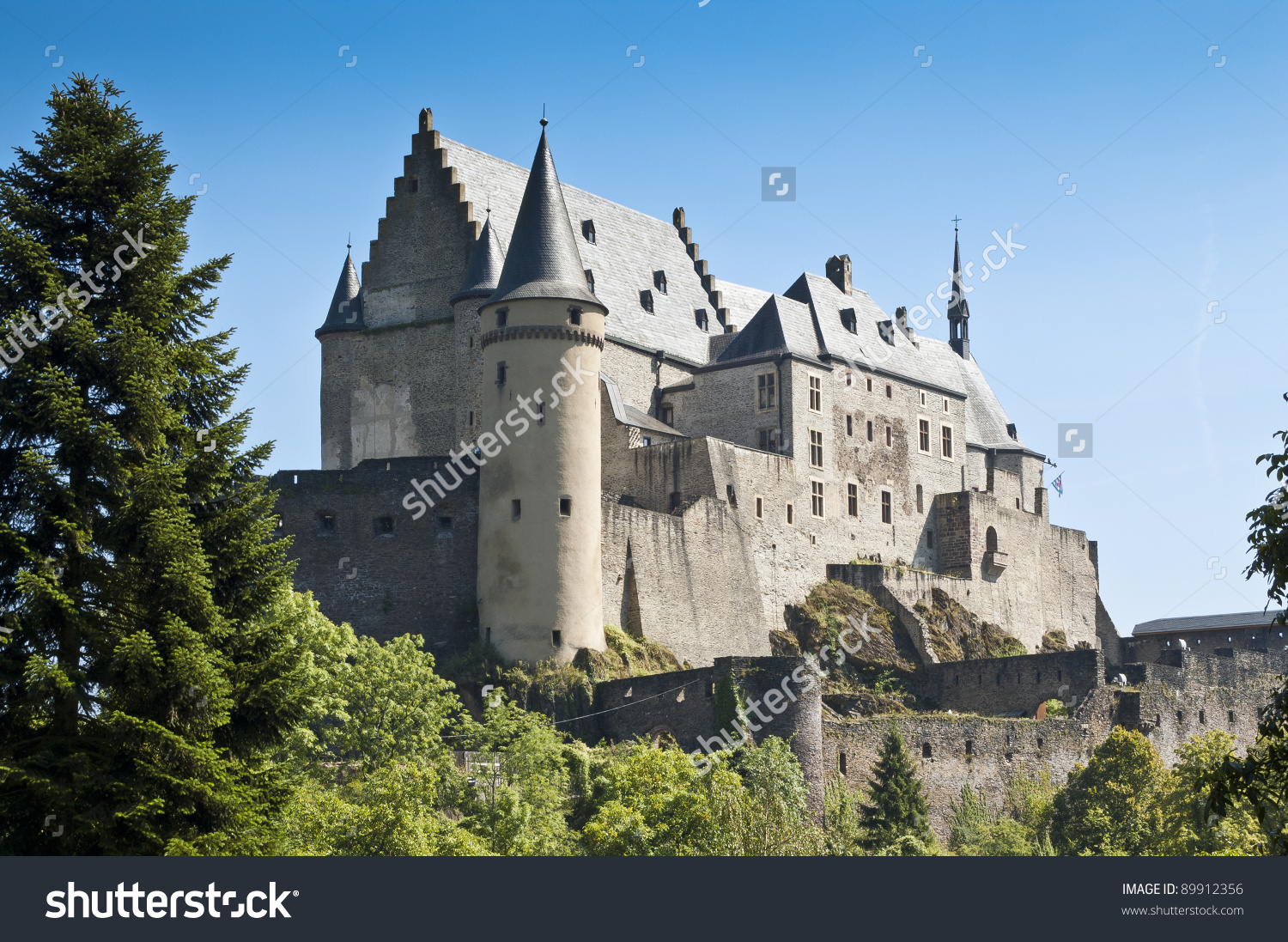 Vianden Castle Located Vianden North Luxembourg Stock Photo.