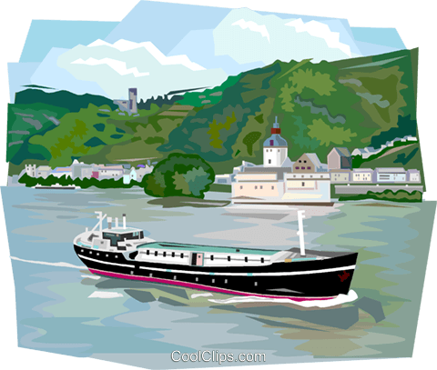 German river boat in the Rhine River Royalty Free Vector Clip Art.