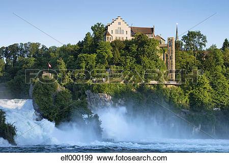 Stock Photograph of Switzerland, Schaffhausen, View of Rhine Falls.