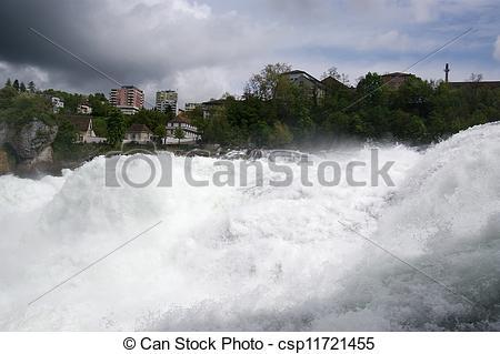 Stock Images of Waterfall Rhine Falls (Rheinfall) at Schaffhausen.