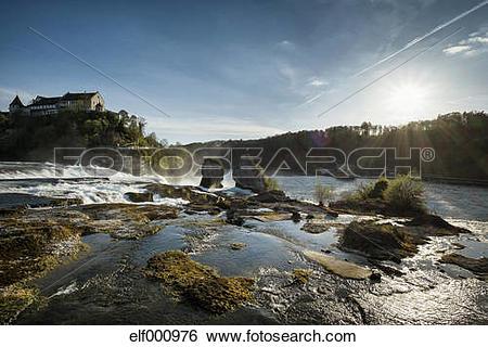 Stock Images of Switzerland, Schaffhausen, Rhine falls with Laufen.