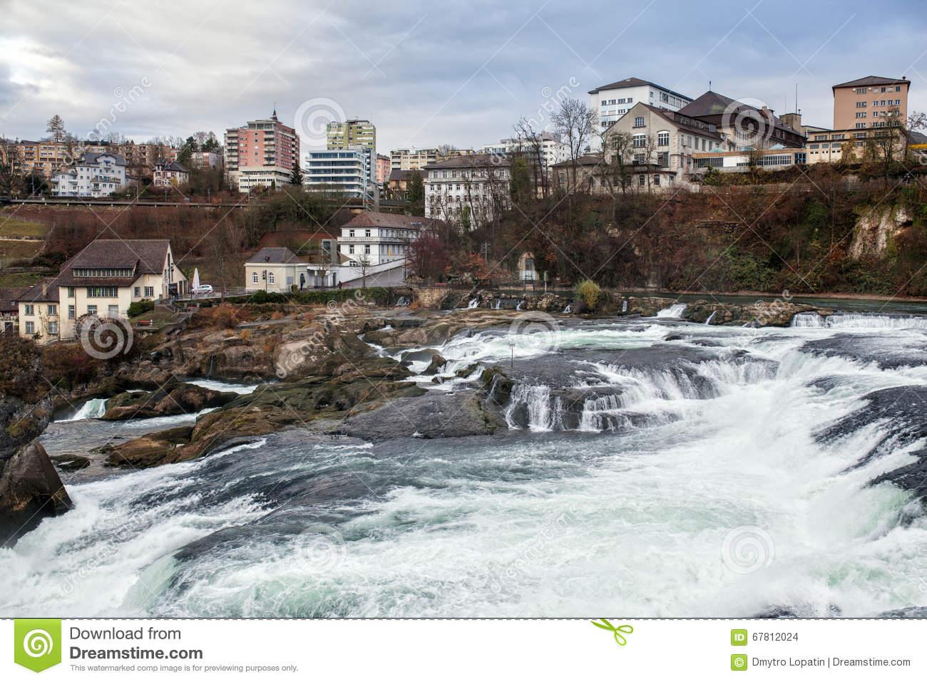 Panoramic View On Rhine Falls; Switzerland; Stock Photo.