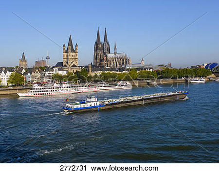 Stock Photography of Boat sailing in river, Rhine River, Cologne.