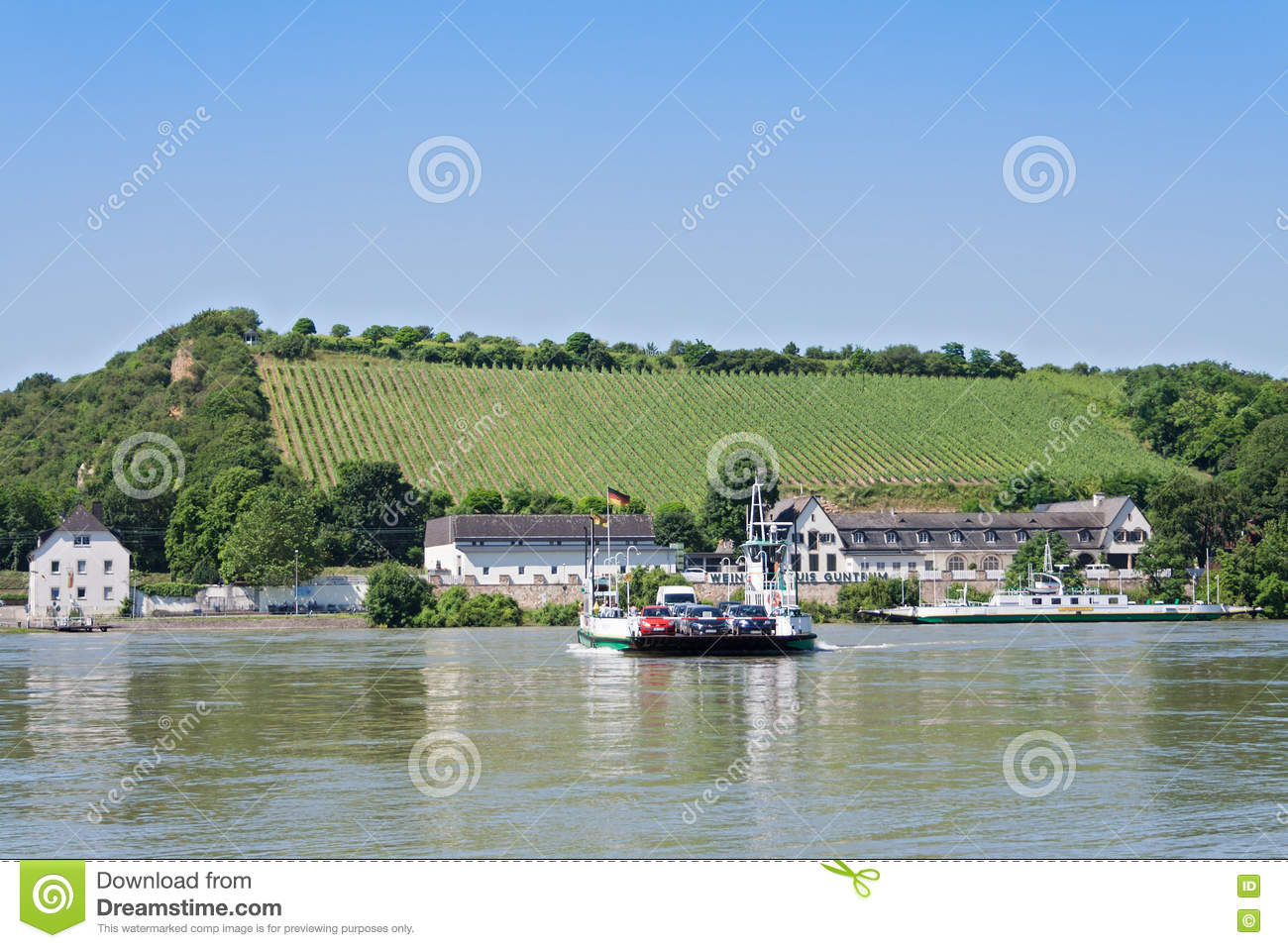 Car Ferry Rhine River In Nierstein, Germany Editorial Image.