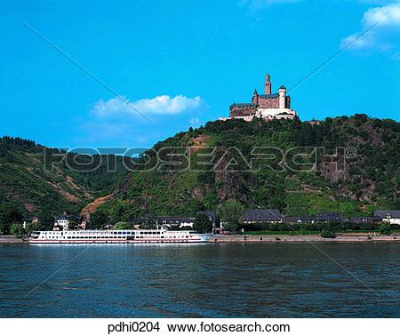 Stock Photo of Rhein river, excursion ship, castle, hill.