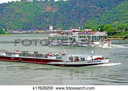 Stock Photography of Ships on Rhine river k17628200.