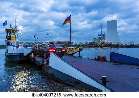 Stock Image of Rhine car ferry, between Duisburg Walsum and Orsoy.