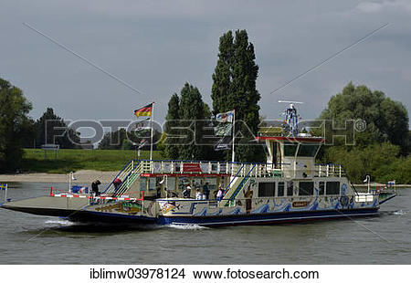 "Stock Photo of ""Ferry on the Rhine between Dusseldorf."