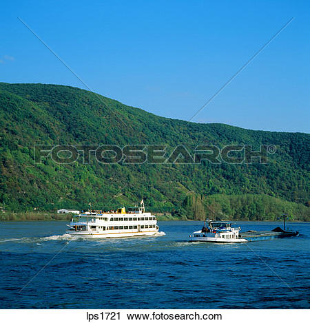 Stock Photography of 26 Cruise Boat And Barge On The Rhine River.