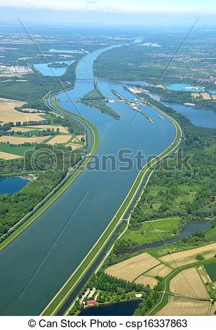 Stock Image of Rhine river, aerial.