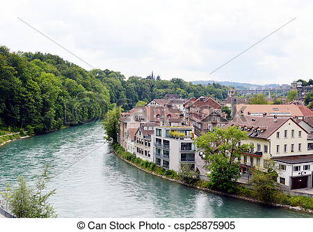 Stock Photography of Rhine river in Berne.