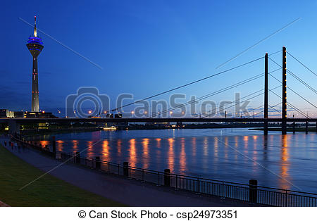 Stock Images of Rhine river in Dusseldorf, Germany.