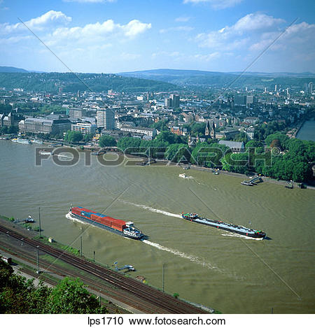 Stock Photography of 15 Barges On The Rhine River Koblenz Germany.