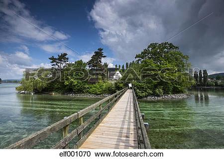 Stock Photography of Switzerland, Thurgau, Eschenz, Wooden bridge.