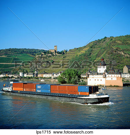 Stock Image of 20 Barge Loaded With Containers On The Rhine River.