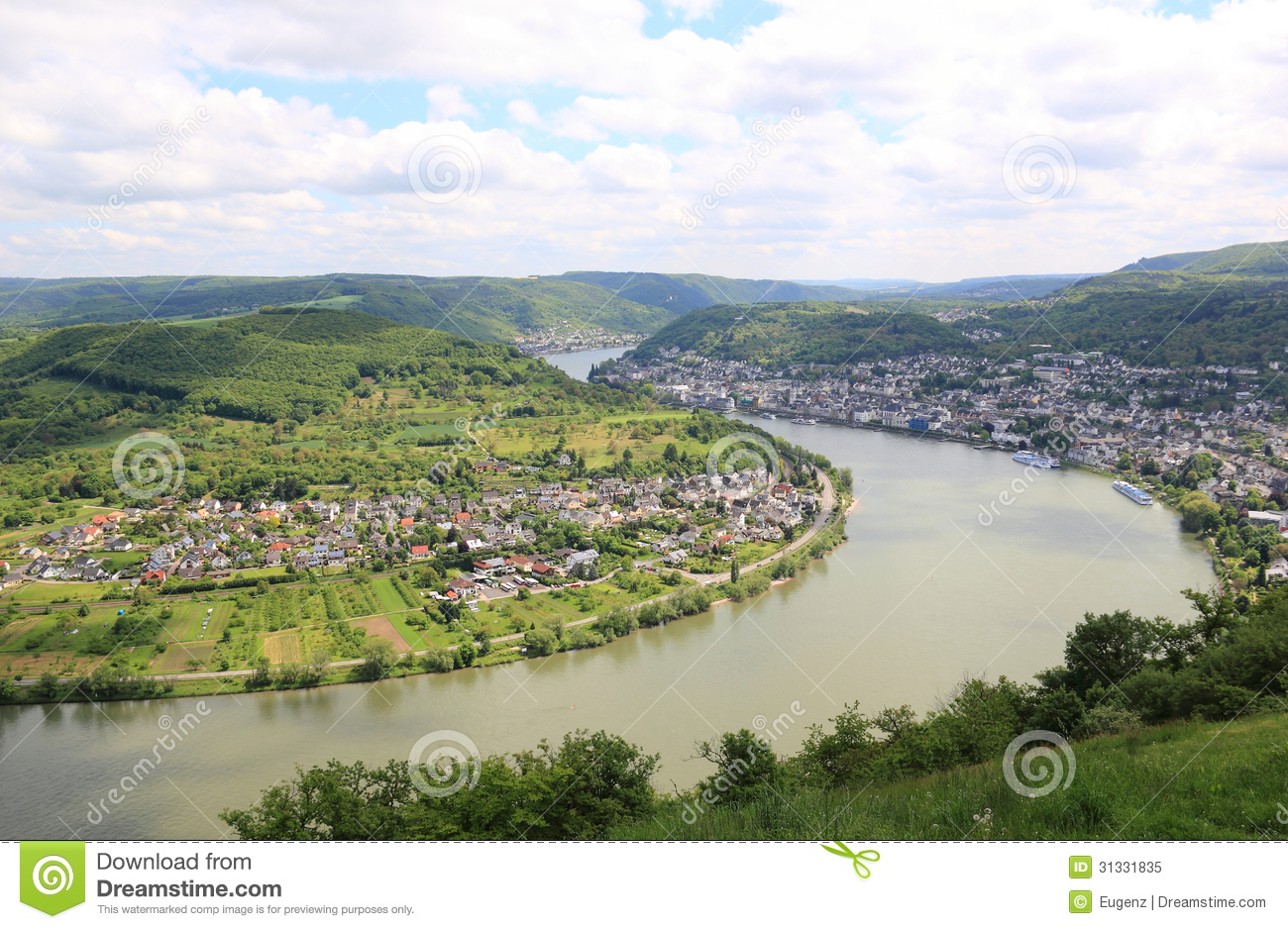 Great Bow Of The Rhine Valley Near Boppard, Germany. Royalty Free.