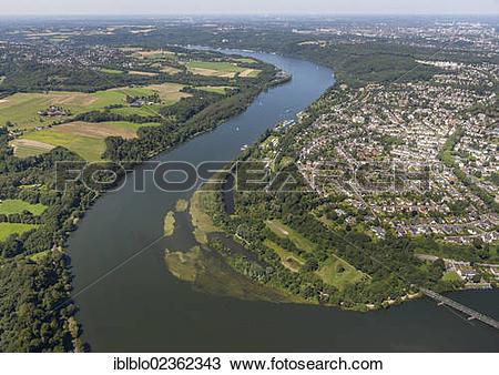 "Stock Photo of ""Aerial view of Kupferdreh, loop of the Ruhr river."