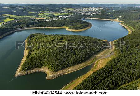 Stock Photo of Gilberginsel island in Bigge lake, Attendorn behind.