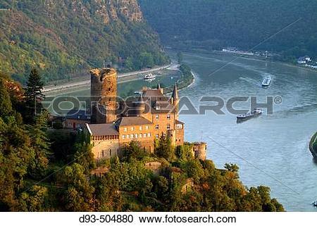 Stock Photography of Katz Castle, St. Goarshausen, Rhine River.