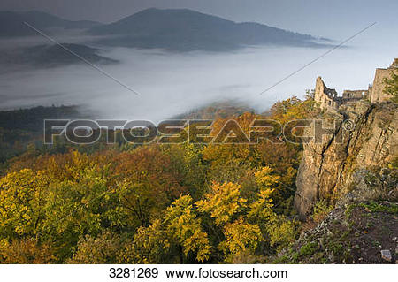 Stock Photograph of View over the Rhine Valley with Hohenbaden.