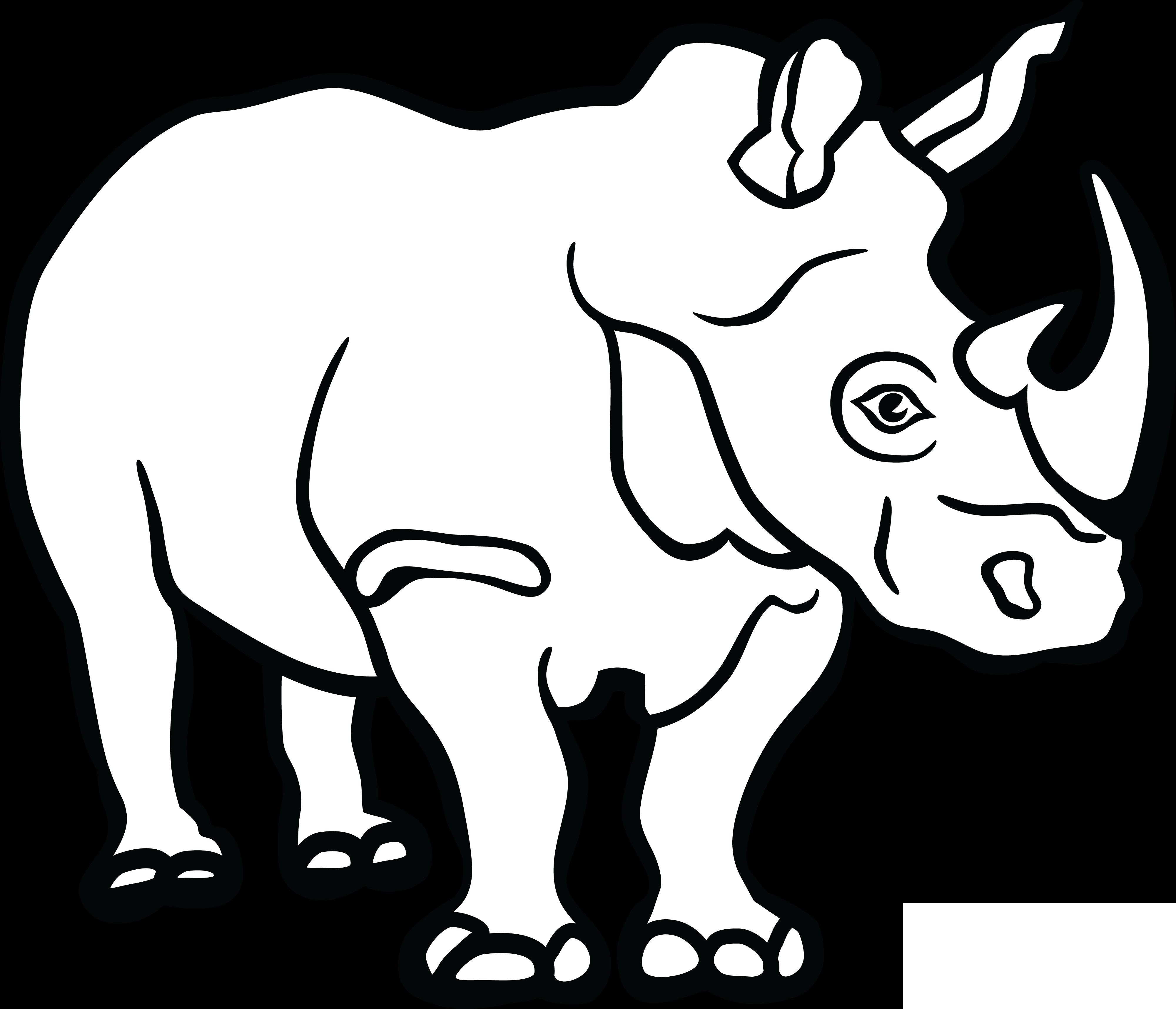 Rhino Clipart Black And White.