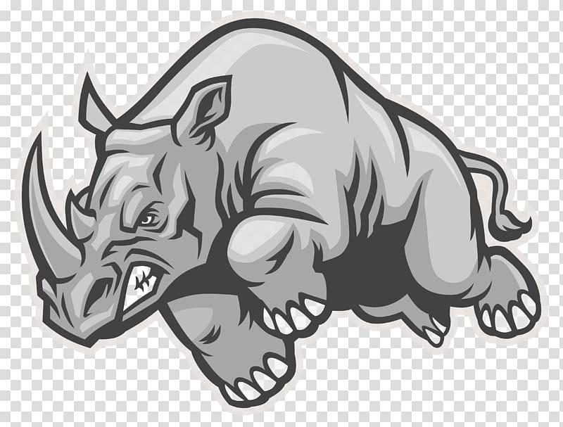 Gray rhino illustration, Rhinoceros , rhino transparent.