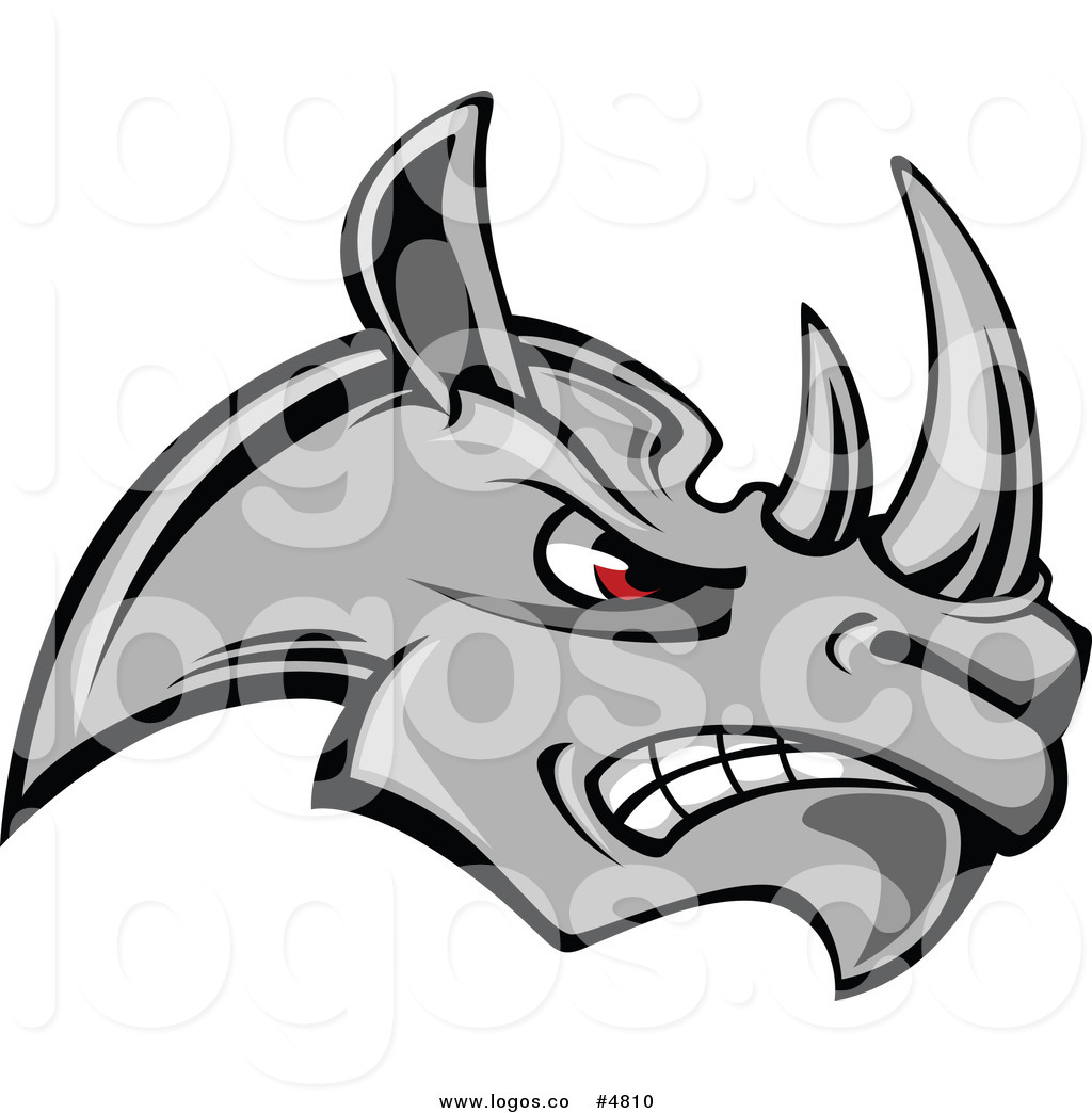 Royalty Free Vector of a Mad Gray Rhino Logo by Vector.