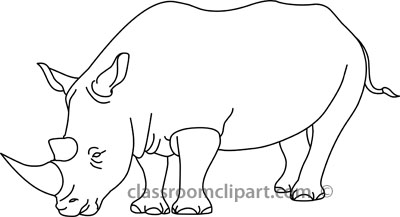 Animals : rhinoceros_outline_01_22912 : Classroom Clipart.