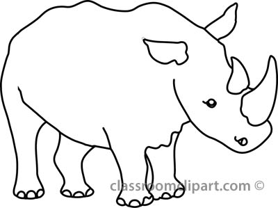 Animals : rhinoceros_327_5A_outline : Classroom Clipart.