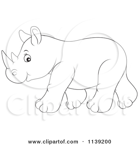 Baby Rhinoceros Outline Clipart.
