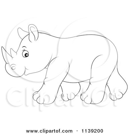 Baby Rhinoceros Outline Clipart.