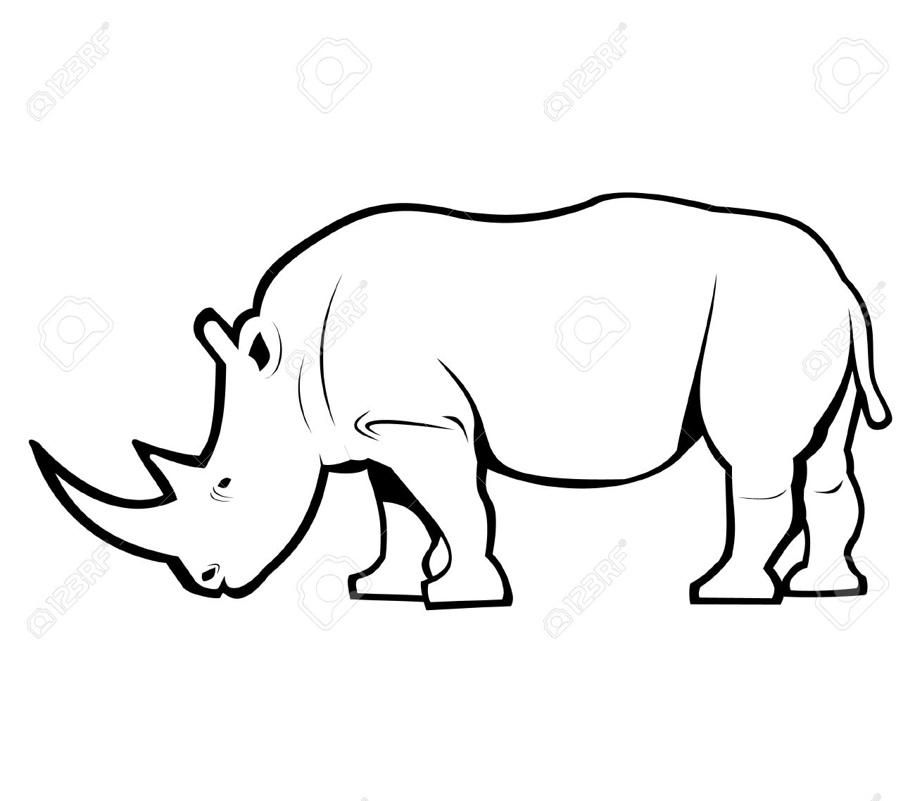 Rhino Outline Royalty Free Cliparts, Vectors, And Stock.