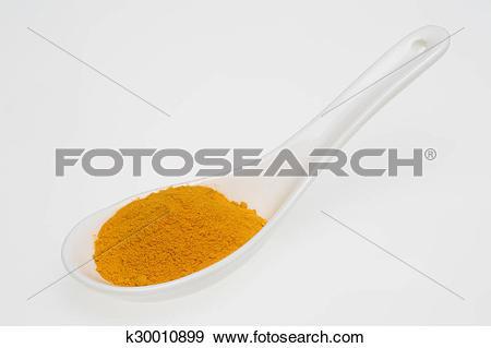 Stock Photograph of Turmeric, Curcuma longa, a rhizomatous.